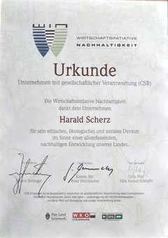 Urkunde Nachhaltigkeit